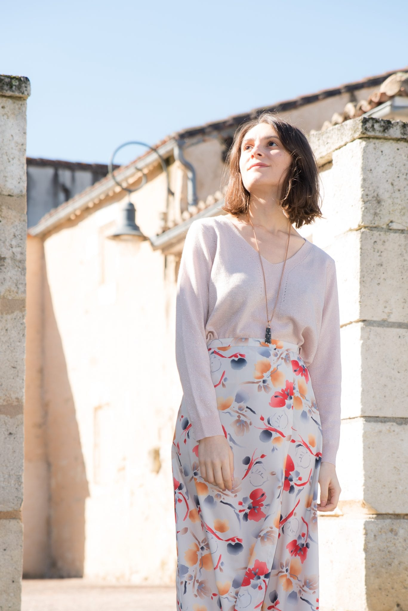 Porter-jupe-portefeuille-midi-imprimee-fleurs-printemps-été-2018 // Blog-mode-ethique-some-place-called-home-estelle